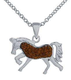 Athra Silver-Plated Horse Crystal Necklace