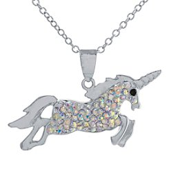 Athra Silver-Plated Unicorn Crystal Necklace