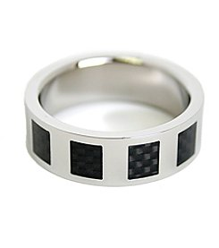 Steel Impressions Stainless Steel Black Squares Ring