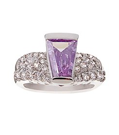 Glamour Rings Tapered Baguette Lavender Cubic Zirconia Ring