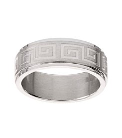 Glamour Rings Stainless Steel Band With Geometric Engraved Detail