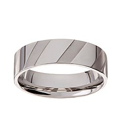 Glamour Rings Stainless Steel Band With Slanted Vertical Shiny And Brushed Stripes