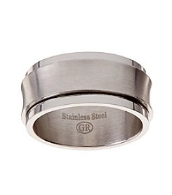 Glamour Rings Stainless Steel Band With Brushed Detail Spinning Center