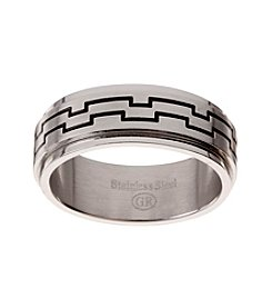 Glamour Rings Stainless Steel Band With Etched Geometric Detail