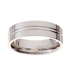 Glamour Rings 7mm Stainless Steel Band In Brushed Finish With Thin Shiny Stripe