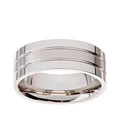 Glamour Rings Stainless Steel Band With Shiny And Brushed Finish Stripes