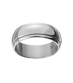 Glamour Rings Stainless Steel Band In Shiny Finish With Spinning Center