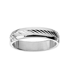 Glamour Rings Stainless Steel Band With Slanted Etched Pattern