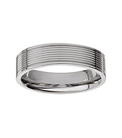 Glamour Rings Stainless Steel Band With Ribbed Texture Detail In Shiny Finish