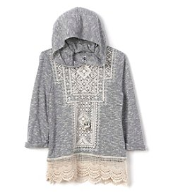 Beautees Girls' 7-16 Crochet Trim Hoodie