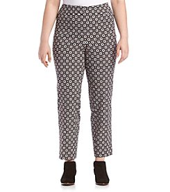 Nine West® Plus Size Printed Scuba Crepe Slim Pants