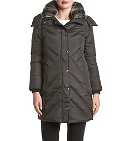 London Fog® Petites' Chevron Quilted Down Jacket