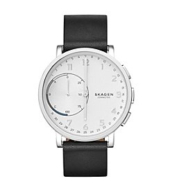 Skagen Men's 42mm Hagen Connected Black Leather Hybrid Smartwatch