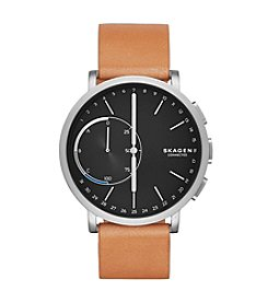 Skagen Men's 42mm Hagen Connected Titanium and Brown Leather Hybrid Smartwatch
