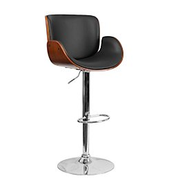 Flash Furniture Walnut Bentwood Adjustable Height Barstool