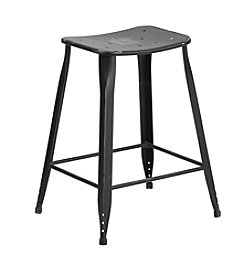 Flash Furniture Distressed Metal Indoor-Outdoor Counter Height Stool