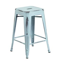 Flash Furniture Backless Distressed Metal Indoor-Outdoor Counter Height Stool