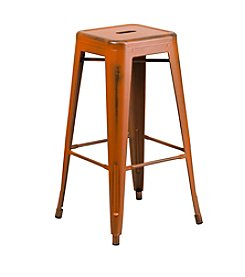 Flash Furniture Backless Distressed Metal Indoor-Outdoor Barstool