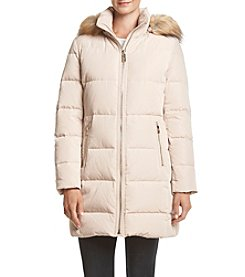Ivanka Trump® Horizontal Seam Down Coat With Faux Fur Hood