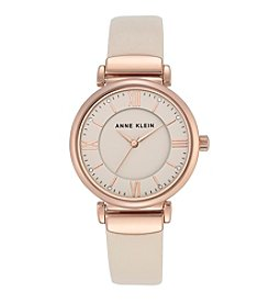 Anne Klein® Rose Goldtone And Blush Leather Strap Watch