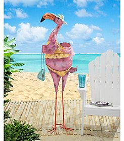 Sunjoy Purse and Sunhat Flamingo Sculpture