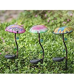 Sunjoy Set of 3 Mushroom Solar LED Garden Stake