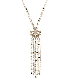 Relativity® Goldtone Beaded Pendant Tassel Necklace