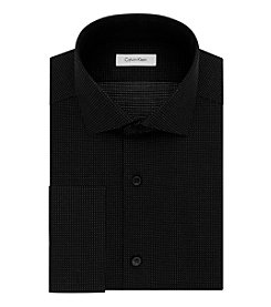 Calvin Klein Men's Black Velvet Dot Slim Fit Dress Shirt