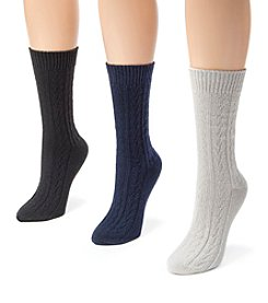 MUK LUKS Women's 3 Pair Pack Cable Boot Socks