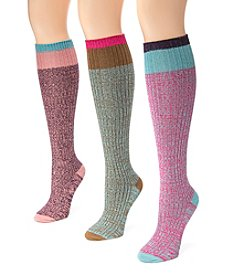 MUK LUKS Women's 3 Pair Pack Color Block Knee High Socks