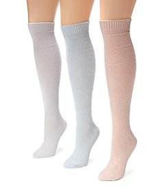 MUK LUKS Women's 3 Pair Pack Diamond Knee High Socks