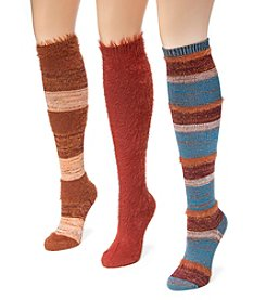 MUK LUKS Women's 3 Pair Pack Fuzzy Yarn Knee High Socks