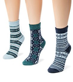 MUK LUKS Women's 3-Pair Holiday Boot Socks