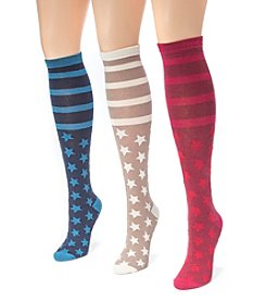 MUK LUKS Women's 3 Pair Pack Jacquard Knee High Socks
