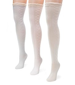 MUK LUKS Women's 3 Pair Pack Lace Texture Over the Knee Socks
