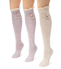 MUK LUKS Women's 3 Pair Pack Lace Top Knee High Socks
