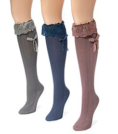 MUK LUKS Women's 3 Pair Pack Lacey Bow Knee High Socks