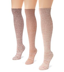 MUK LUKS Women's 3 Pair Pack Marl Knee High Socks
