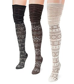 MUK LUKS Women's 3 Pair Microfiber Over the Knee Socks