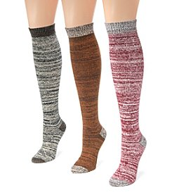 MUK LUKS Women's 3 Pair Pack Mircrofiber Knee High Socks