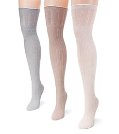 MUK LUKS Women's 3 Pair Pack Open Pointelle Over the Knee Socks
