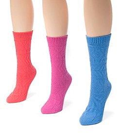 MUK LUKS Women's 3 Pair Pack Pointelle Boot Socks