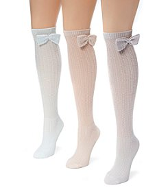 MUK LUKS Women's 3 Pair Pack Pointelle Bow Knee High Socks