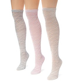 MUK LUKS Women's 3 Pair Pack Pointelle Marl Knee High Socks