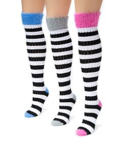 MUK LUKS Women's 3 Pair Pack Pointelle Stripe Knee High Socks