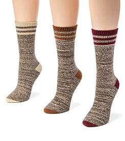 MUK LUKS Women's 3 Pair Pack Striped Marl Boot Socks