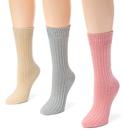 MUK LUKS Women's 3 Pair Pack Waffle Boot Socks