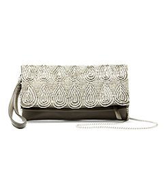 La Regale Geo Beaded Fold Over Wristlet Crossbody