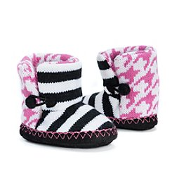 MUK LUKS Baby Girls' Pattern & Stripe Slippers