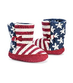 MUK LUKS Baby Girls' Stars & Stripes Slippers